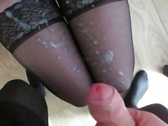 white jizm on her nylon legs