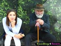 Schoolgirl Abella Danger pink slit screwed at the bus stop