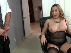 Big titty girl Kat Krown pleases her boss