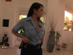 Desirable Darkhaired Babe Cop In Uniform Wants Big Cock