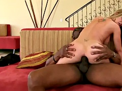 Ayntritli hot blonde slut, aline is getting fucked hard in the open ass, by a horny, black guy