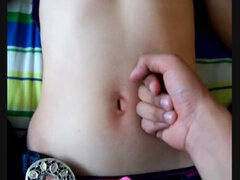 Tormenting the Belly Button of my tiny Nephew while he Wanked