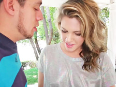 Summer Lace is sucking a dick of her step brother