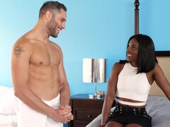 Black babe fucked a handsome, white guy