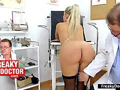 Undersized teenage Silvia abused by more experienced gyneco doctor