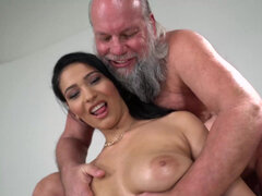 Teen Ava Black fucks grandpa and gets cum on her ass