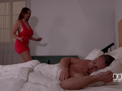 Big Tits Wakeup Call - New Face Crams Cleavage With Long Dick
