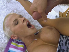 Blonde is doing anal sex with a dildo and a real thing too