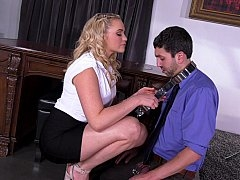 Office female domination and chastity tease