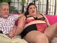 Fat BBW whore with bug ass enjoys threesome with cumshots