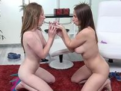 Sexy brunettes take turns tooshie toying each and every other - Lesbian Rectal Sex