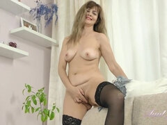 Olga Black Stockings Pussy Play