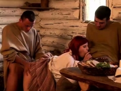Redhead sweetie fucks with two fellas