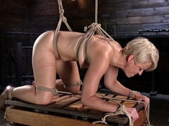 Blonde Buff MILF Helena Locke Made to Cum in Tight Rope Bondage!!