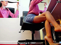 Amazing secretary Crossed legs in tights And High Heels